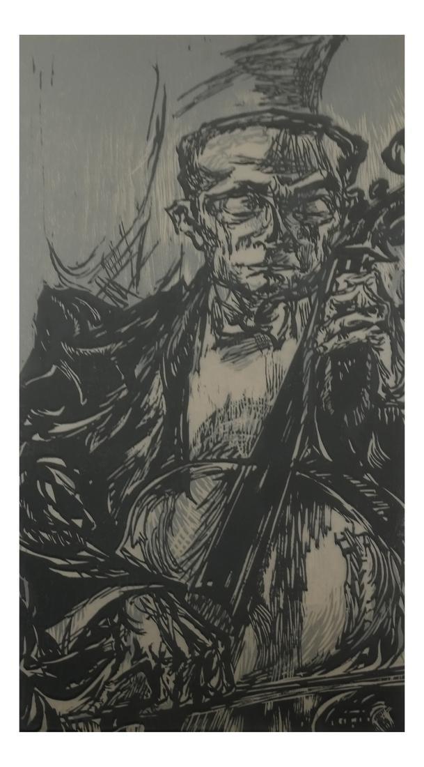 "Jules, ""Cellist"" - Woodcut"