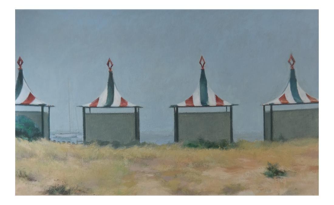 Taylor Kane, Cabanas On A Beach - Oil on Canvas