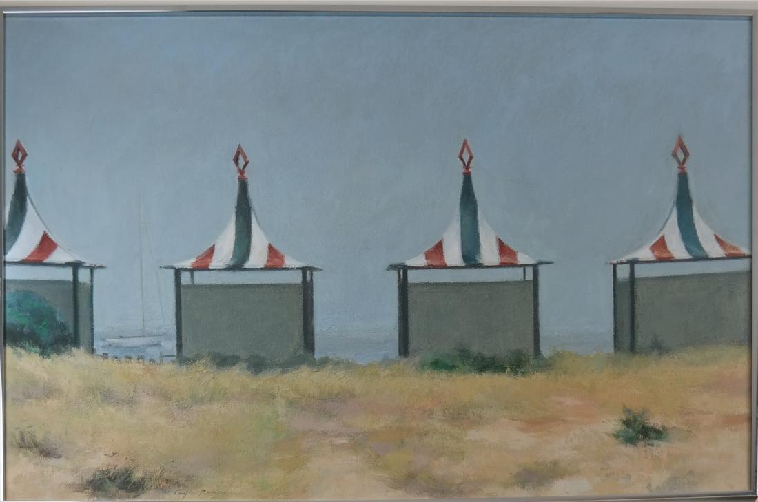 Taylor Kane, Cabanas On A Beach - Oil on Canvas - 2