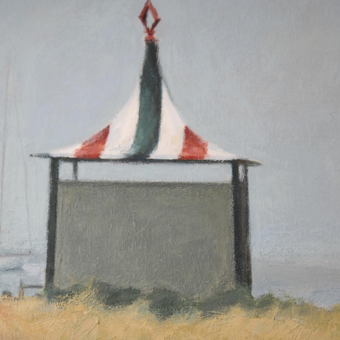 Taylor Kane, Cabanas On A Beach - Oil on Canvas - 4