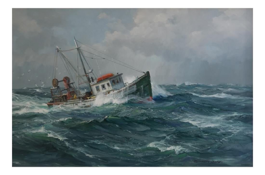 "Charles Vickery, ""Winter Seas"" - Oil on Canvas"