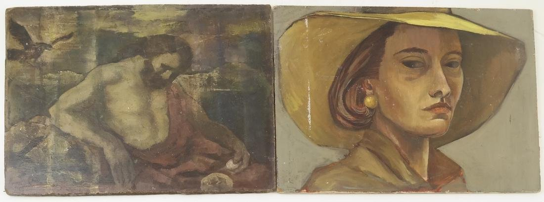 Two Portraits - Bearded Man and A Woman - On Panels