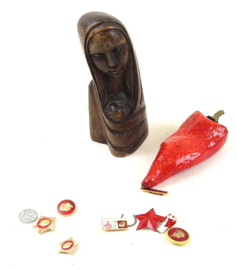 Lot of Pins - Chile Pepper- Virgin Mary Sculpture
