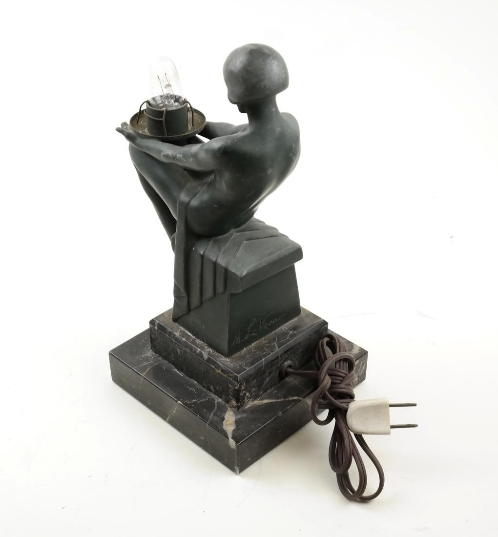 Max Le Verrier, Metal Figural Lamp - 3