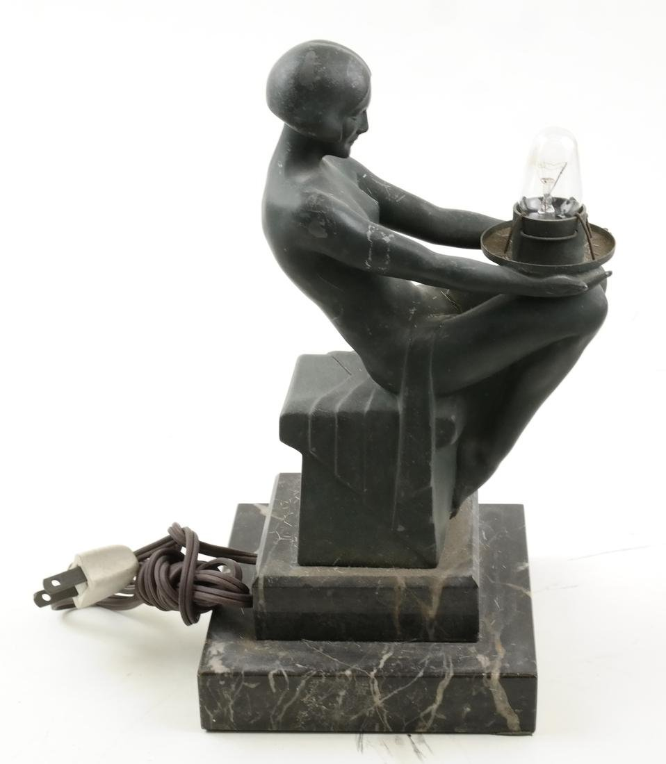 Max Le Verrier, Metal Figural Lamp - 5