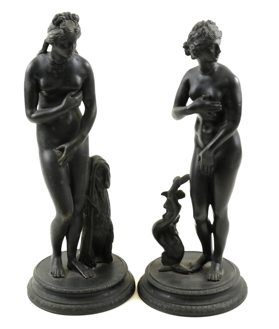 Two Bronze Female Nude Sculptures