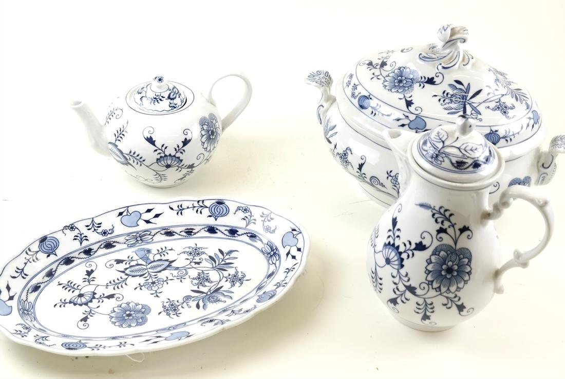 Five Pieces of Blue and White Dinnerware