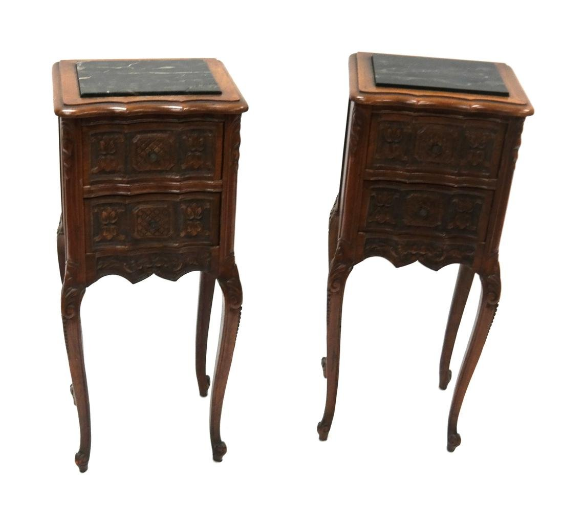 Pair of Belgian-Style Marble Inset Stands