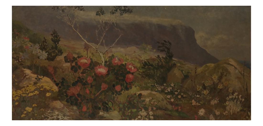 Extensive Mountain Landscape - Oil on Board