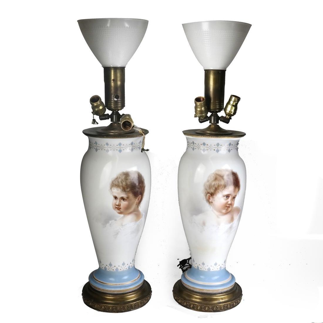Pair of Opaline Glass Portrait Lamps