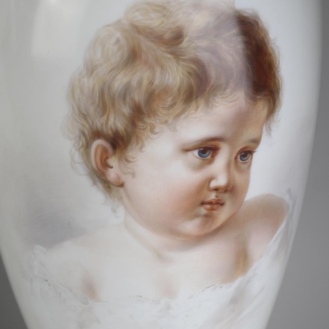 Pair of Opaline Glass Portrait Lamps - 3