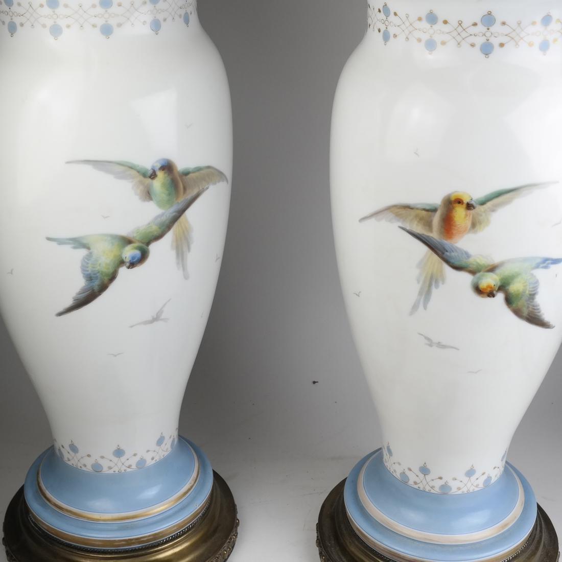 Pair of Opaline Glass Portrait Lamps - 6