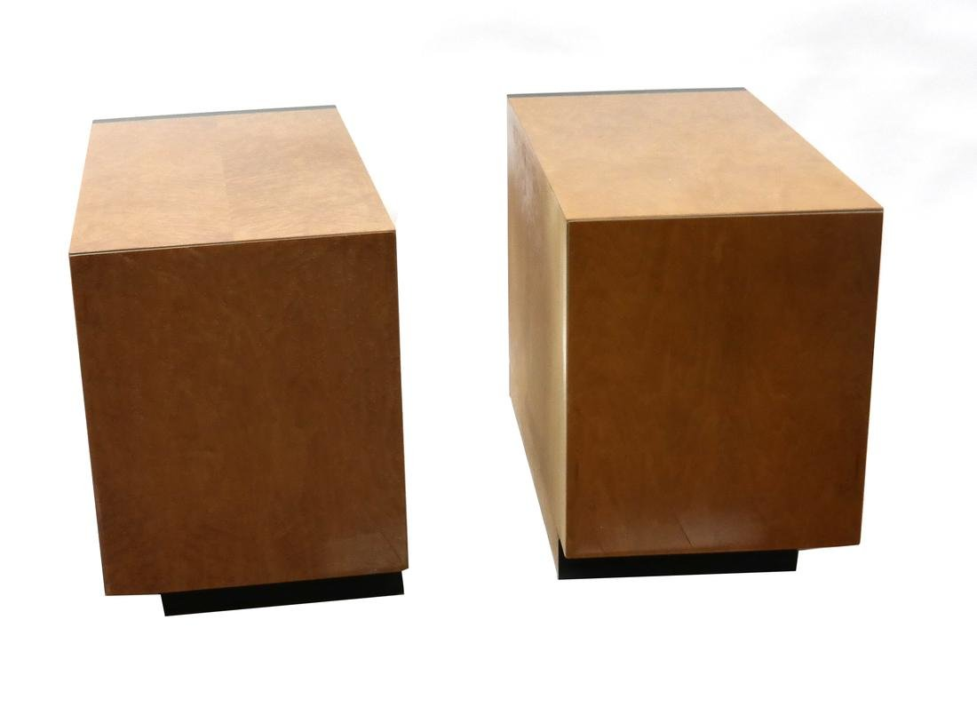Pair of Modern Burl Walnut Low Cabinets