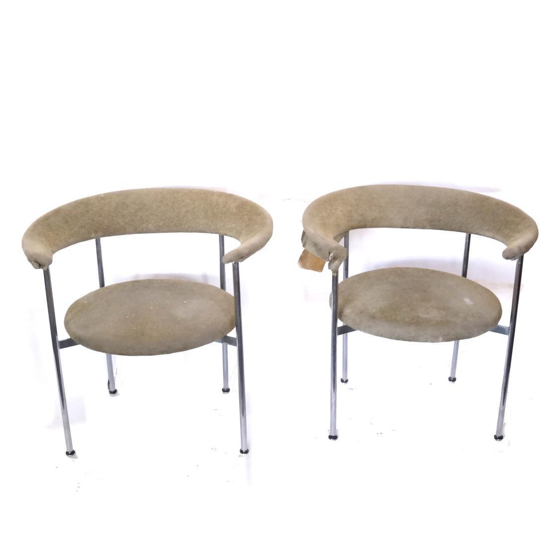 Pair of Modern Chrome Chairs