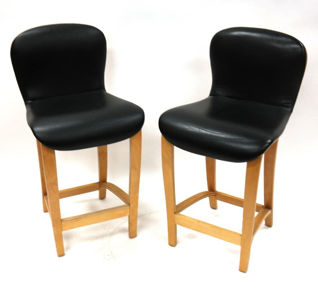 Pair of Modern Maple Stools by Plycraft, MA.