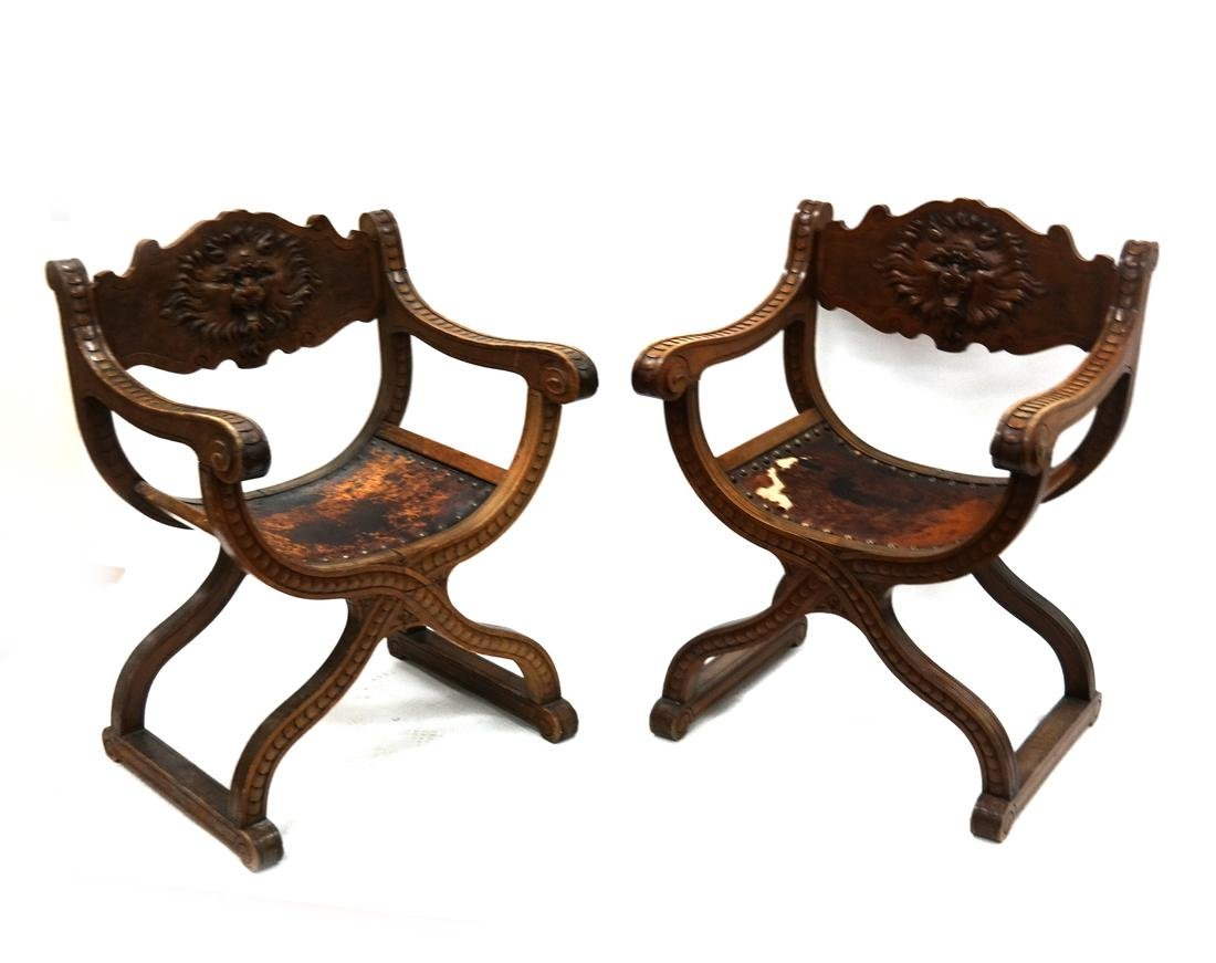 Pair of Ornate Savonarola Chairs