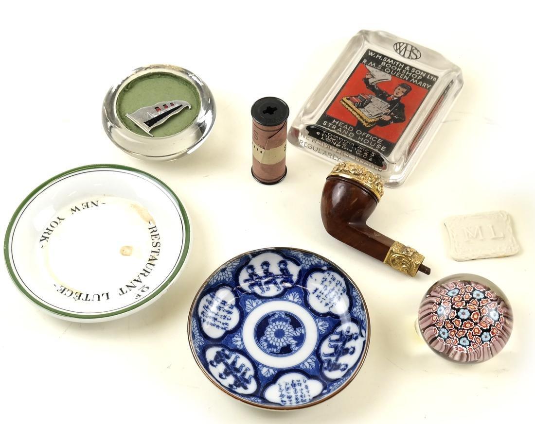 Nautical Gold & Mahogany Pipe, Paperweights, etc- Asian