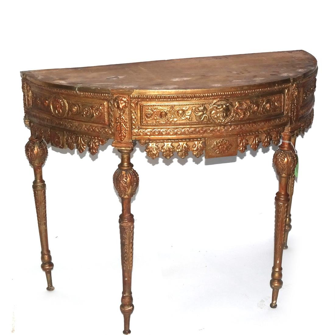 Antique Continental Giltwood Marble Top Console - 2