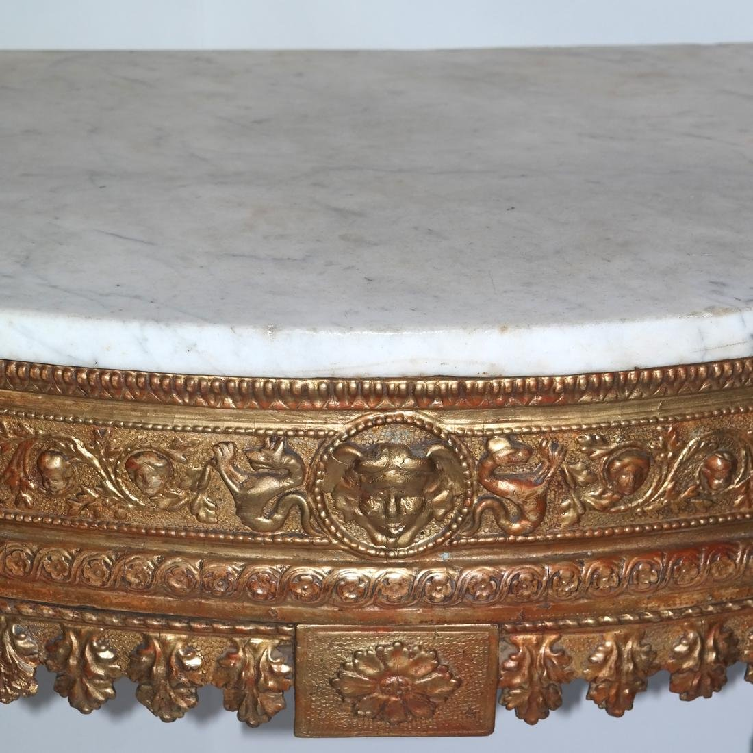 Antique Continental Giltwood Marble Top Console - 5