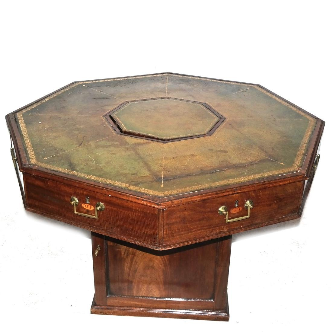 Antique English Octagonal Leather Top Table
