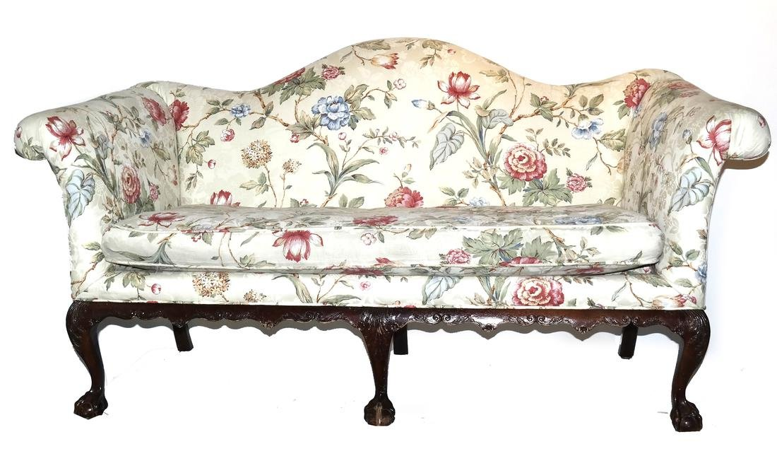 Antique Chippendale-Style Camel Back Sofa