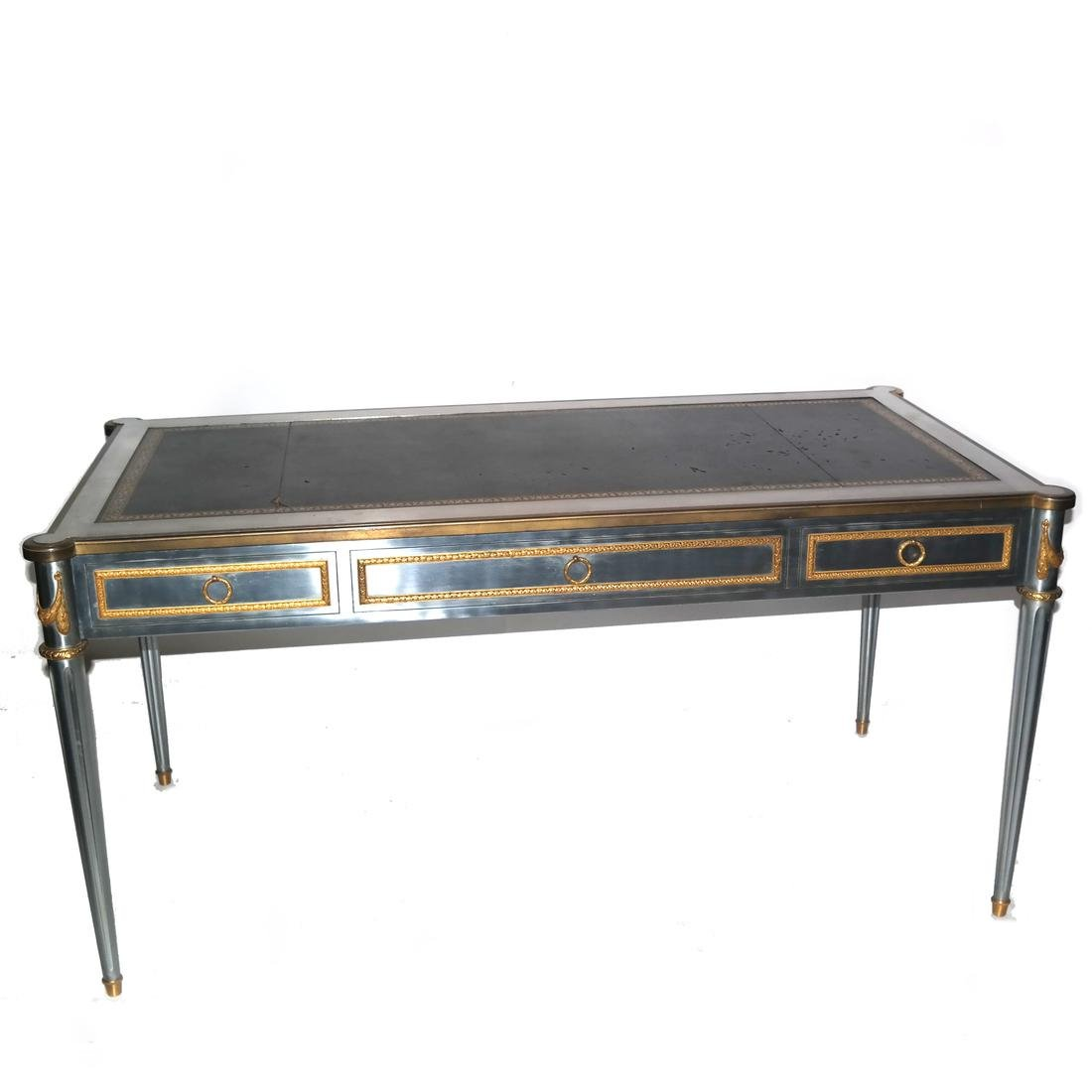 French Steel and Bronze Bureau Plat