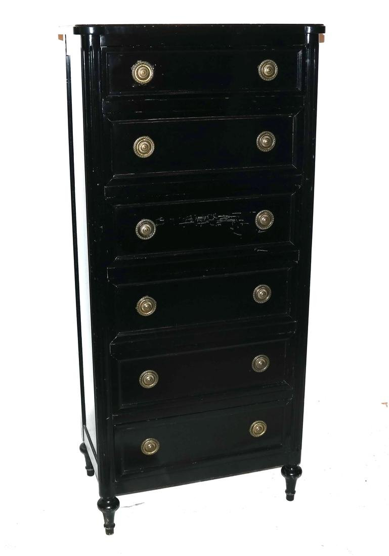 French Black Painted Lingerie Chest by Bodart