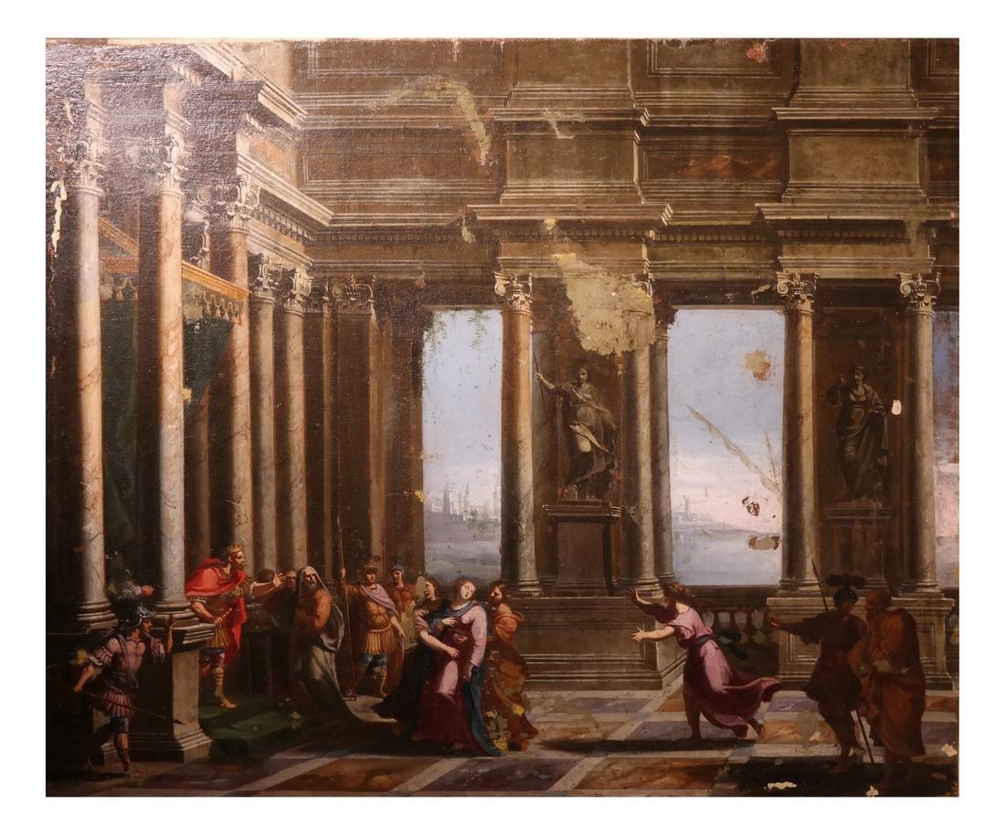 Antique Roman Figural Court Painting