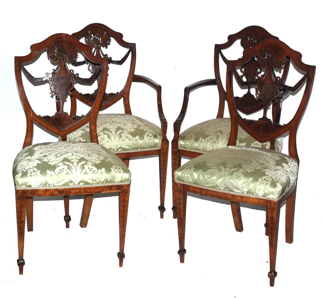 Set of Four Decorated Shield Back Chairs