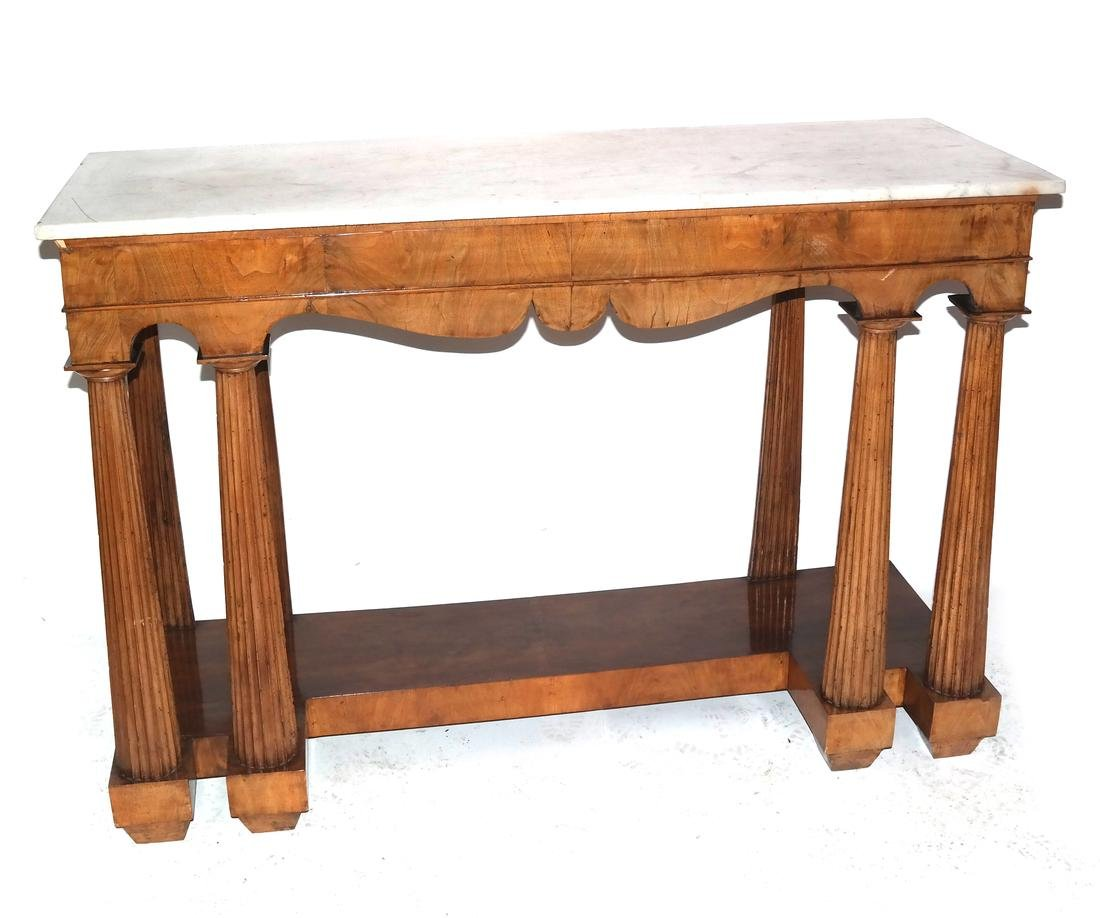 Classical-Style Column-Form Marble Top Console