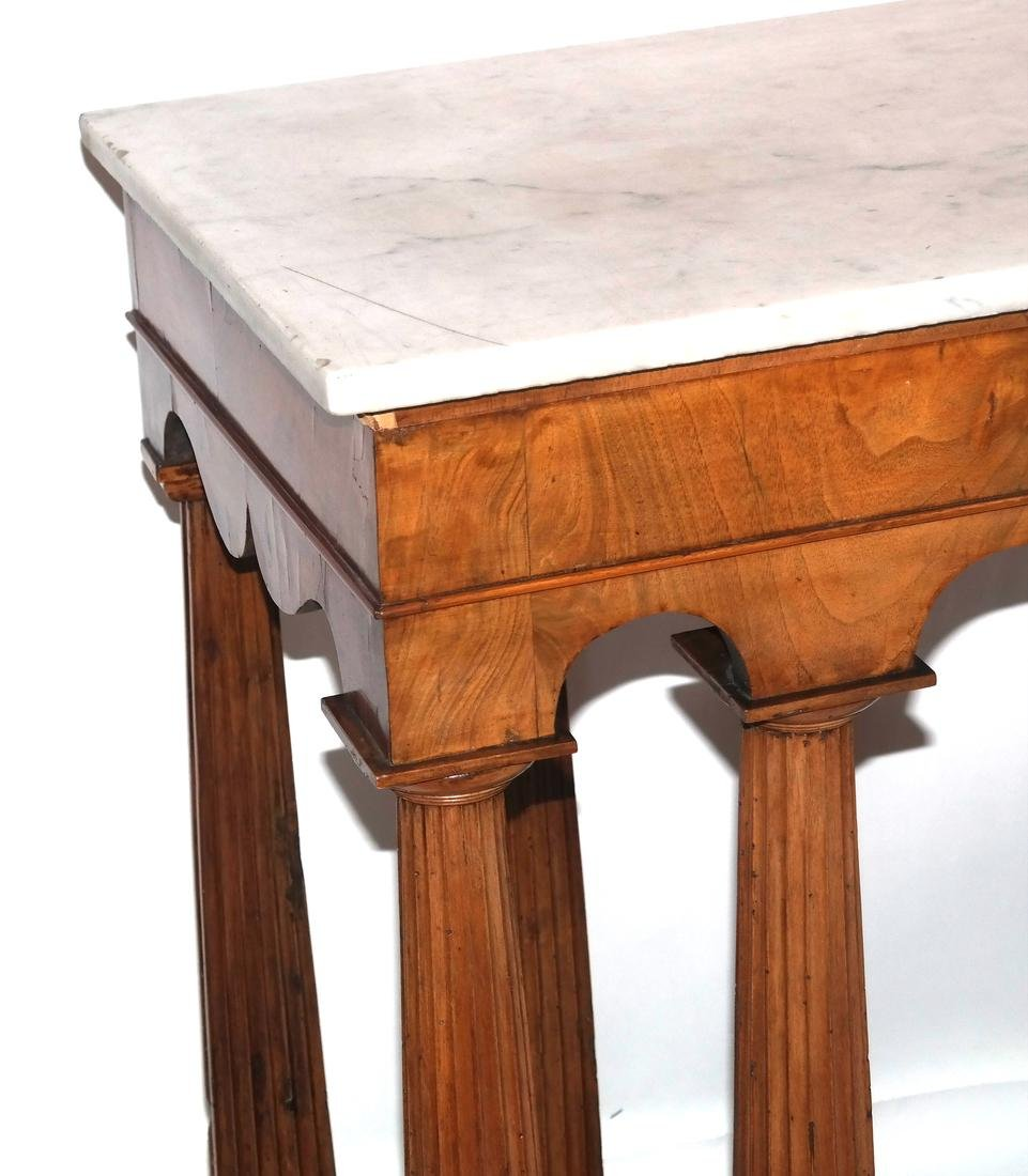 Classical-Style Column-Form Marble Top Console - 2