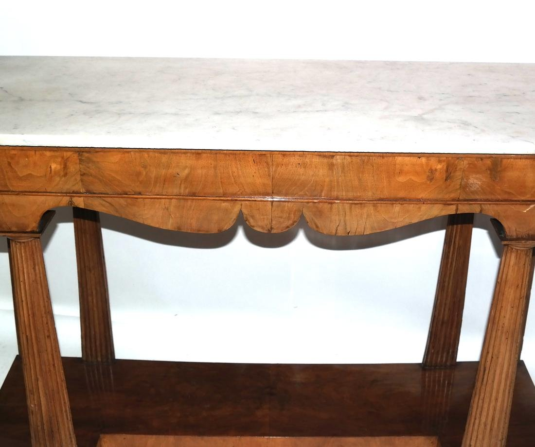 Classical-Style Column-Form Marble Top Console - 4