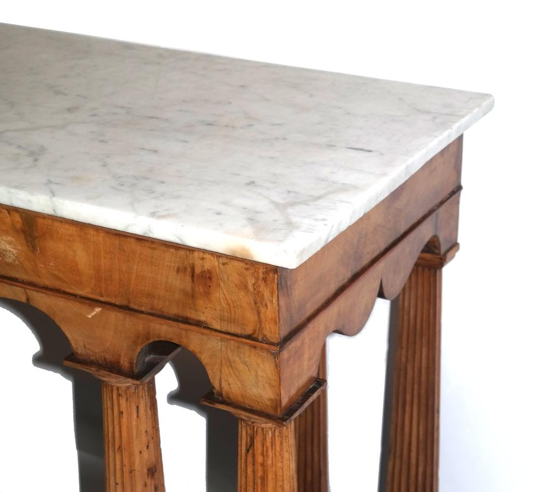Classical-Style Column-Form Marble Top Console - 5