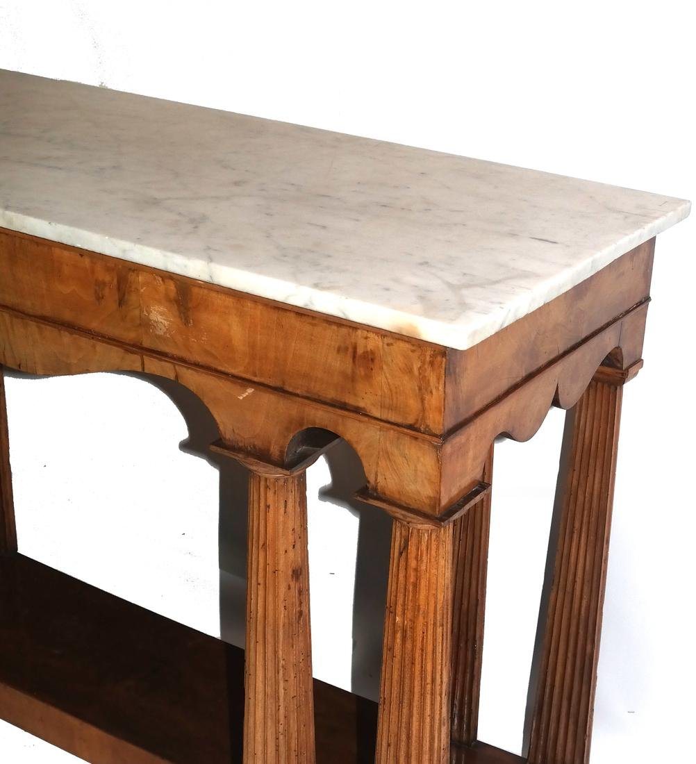 Classical-Style Column-Form Marble Top Console - 6