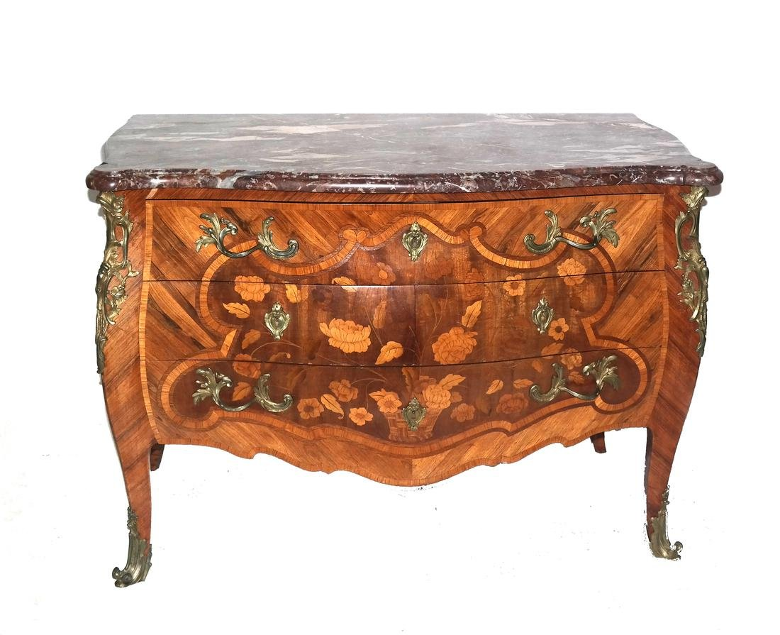 19th Century French Floral Inlaid Commode