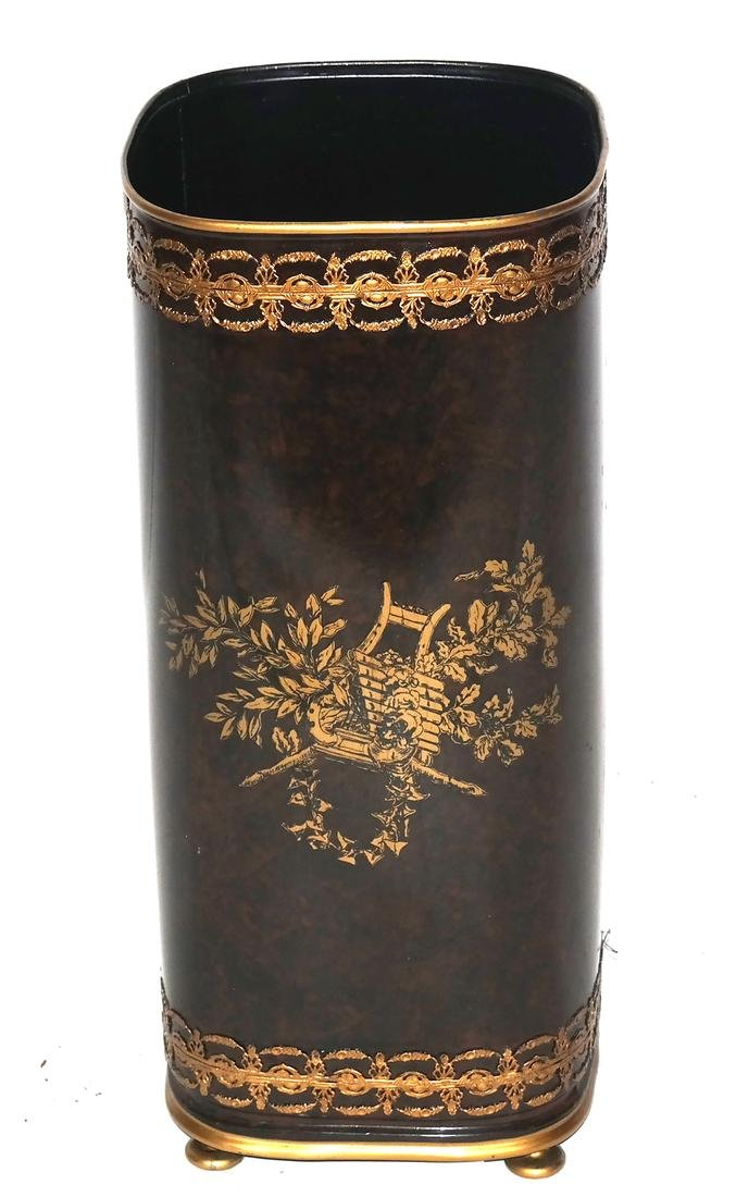 Decorated Metal and Lacquer Umbrella Stand