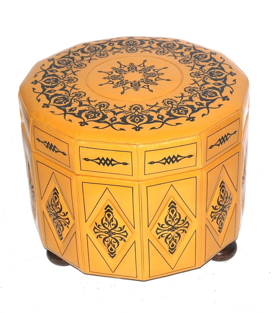 Dodecagon-Form Decorated Hassock