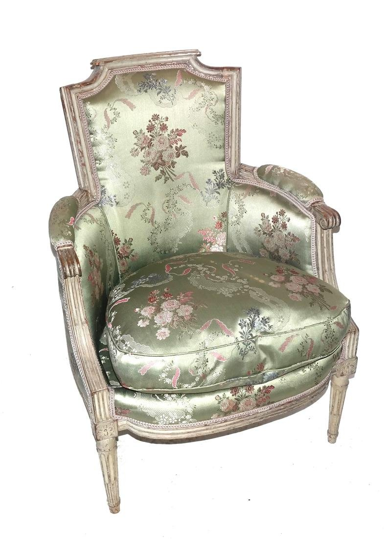 19th Century Continental Painted Bergere