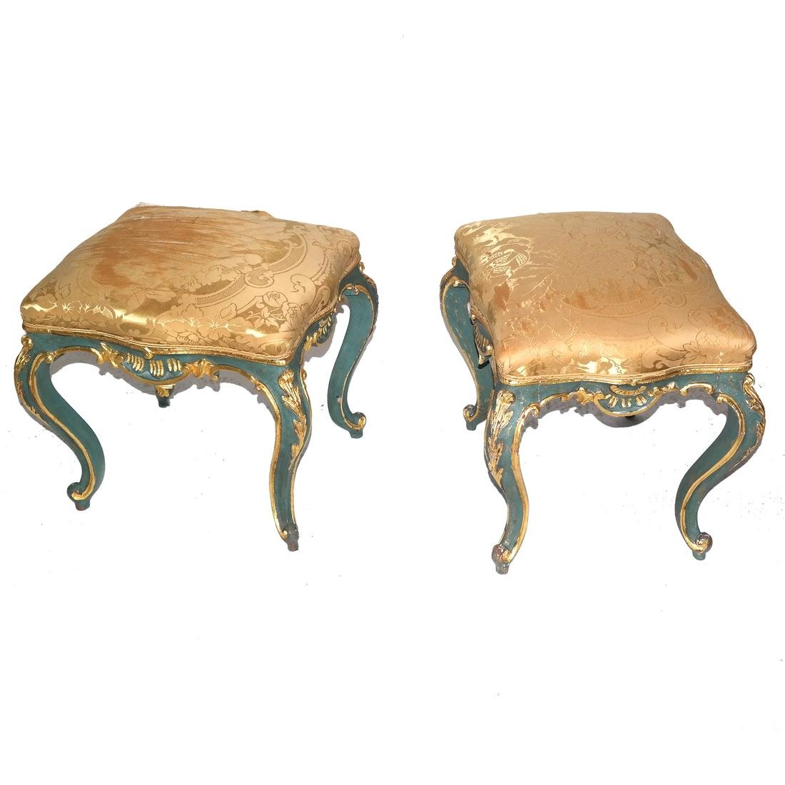 Pair of 19th C. Venetian-Style Decorated Benches