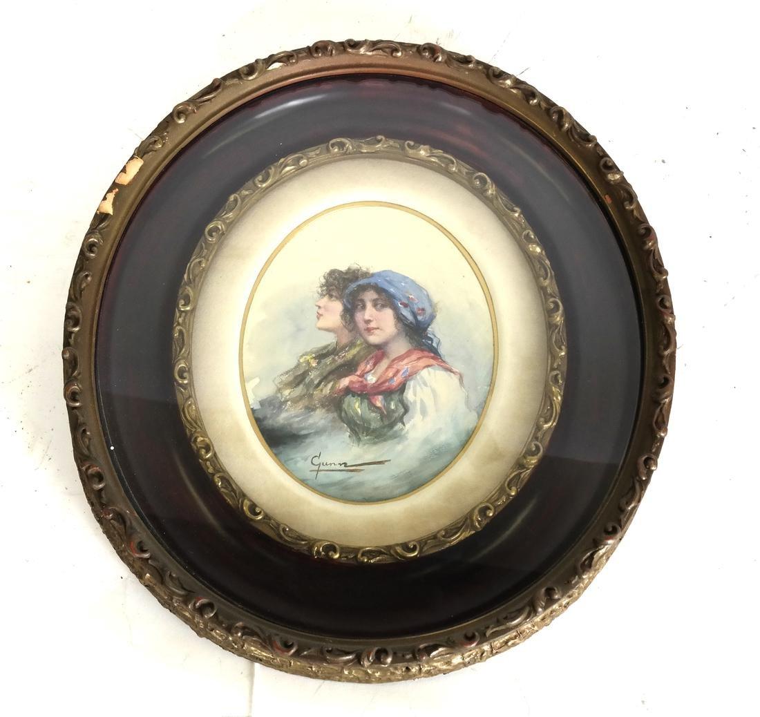 Portrait of Two Women, Watercolor - Signed 'Gunn'