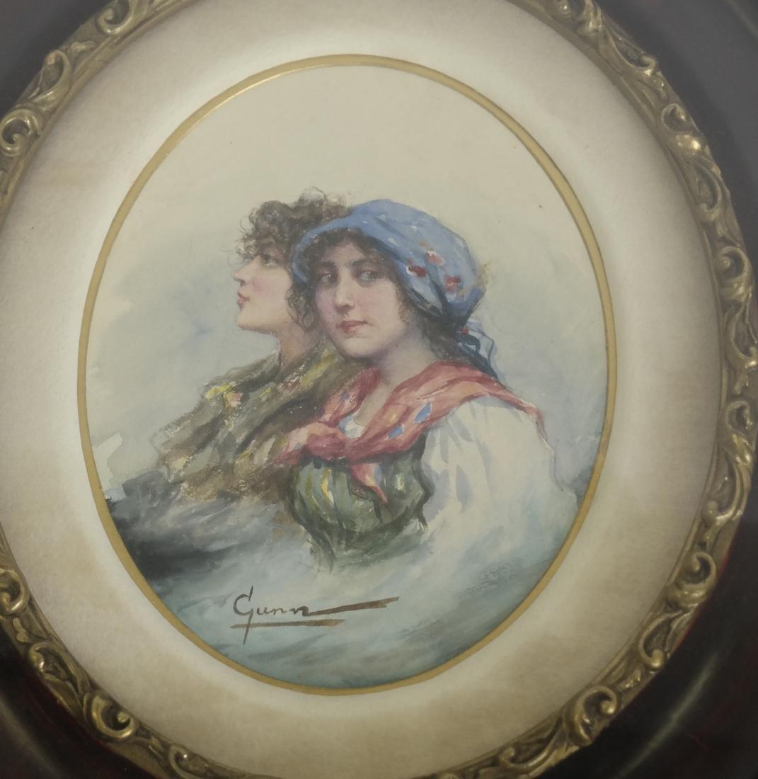 Portrait of Two Women, Watercolor - Signed 'Gunn' - 2