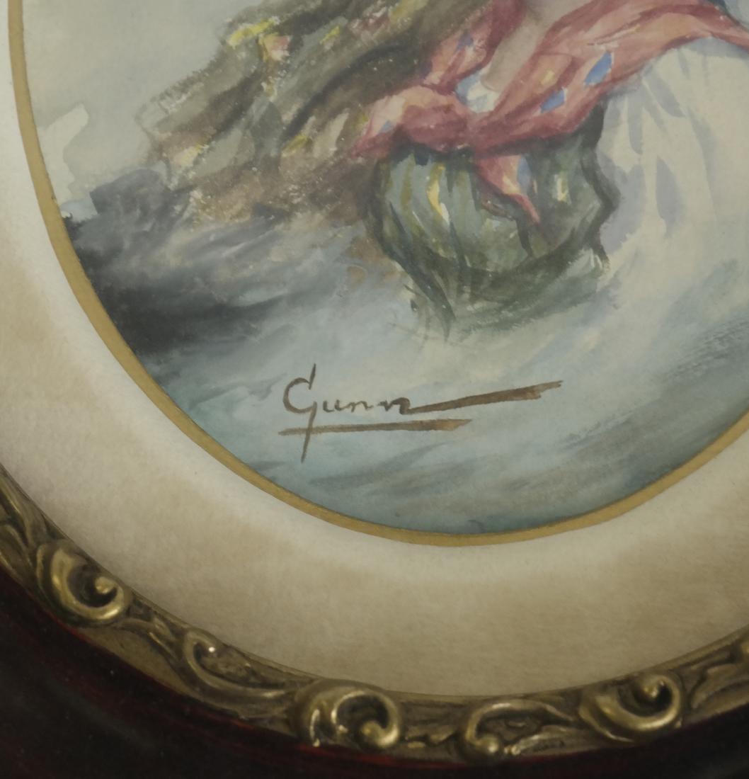 Portrait of Two Women, Watercolor - Signed 'Gunn' - 3