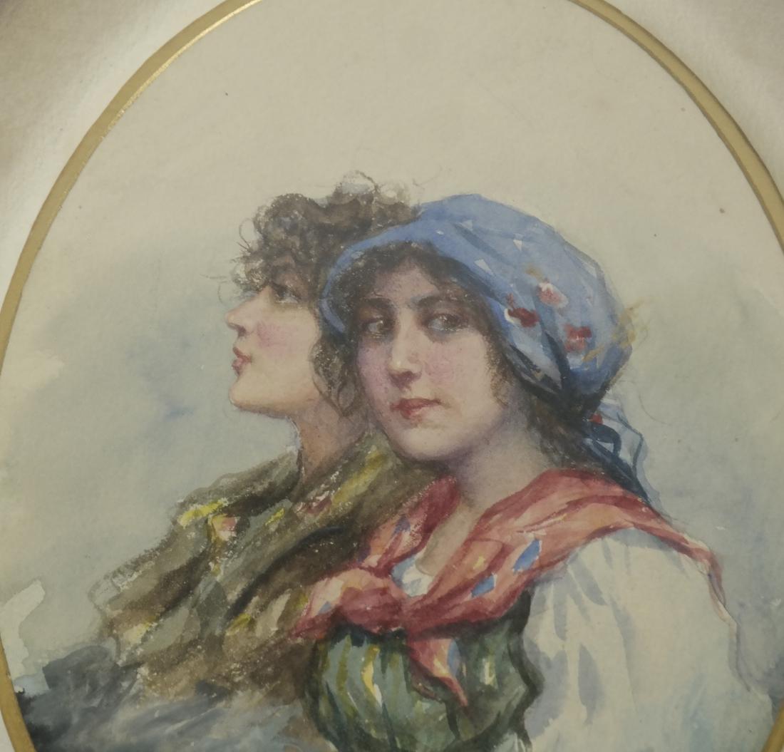 Portrait of Two Women, Watercolor - Signed 'Gunn' - 4
