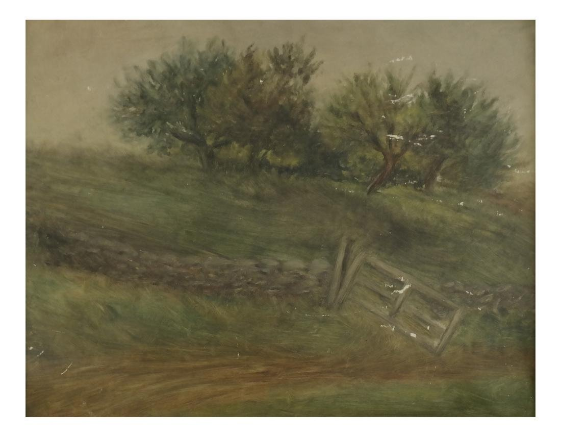 Landscape With A Gate, Oil on Panel - Unsigned