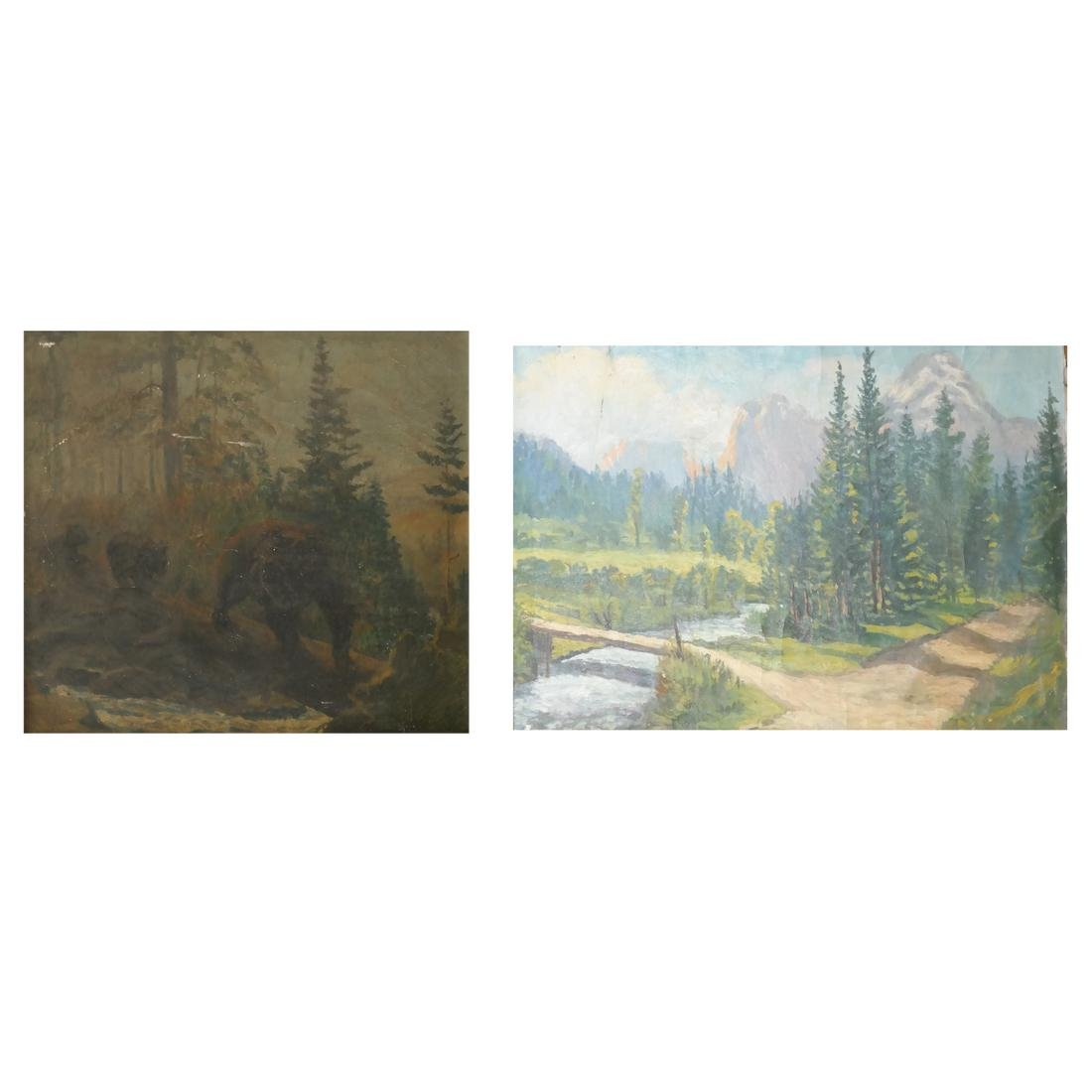 Two Forest Scenes - Oils on Canvas