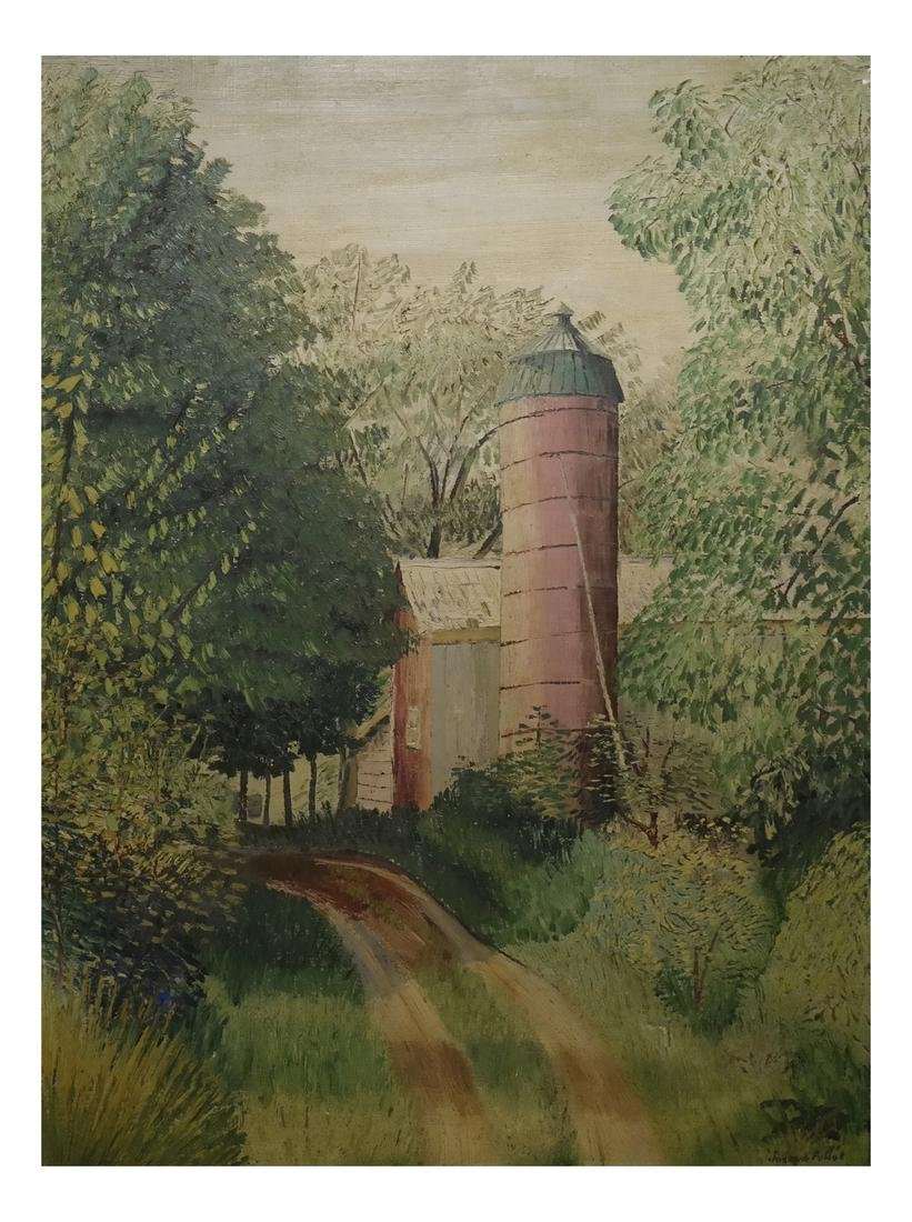 Joseph Pollet, Silo and Barn - Oil on Canvas