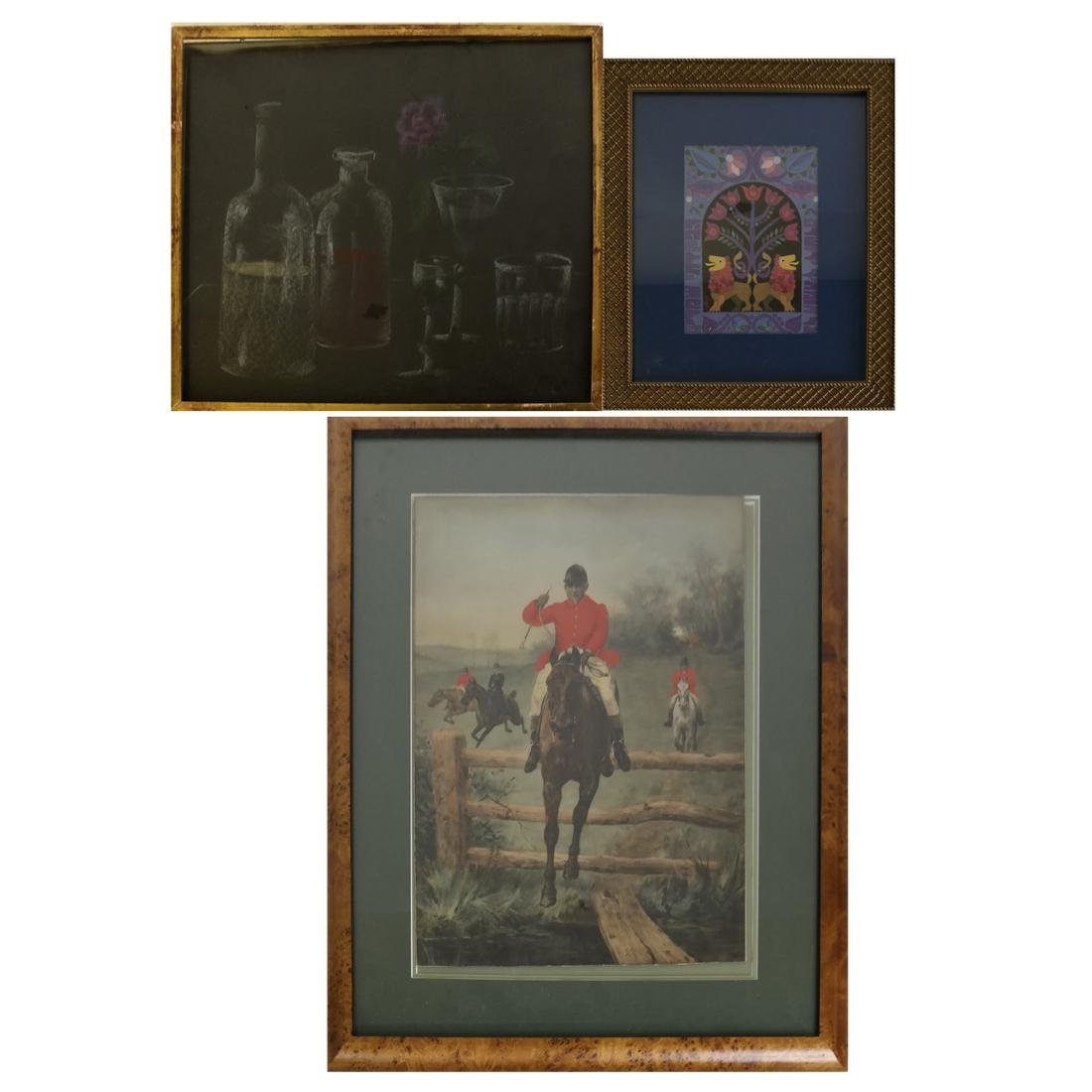 Three Prints: Hunt Scene, Bottles, Lions
