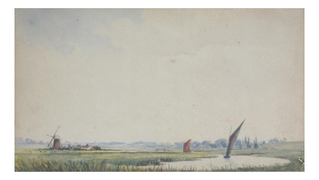 Landscape with Windmills and Sailboats, Watercolor