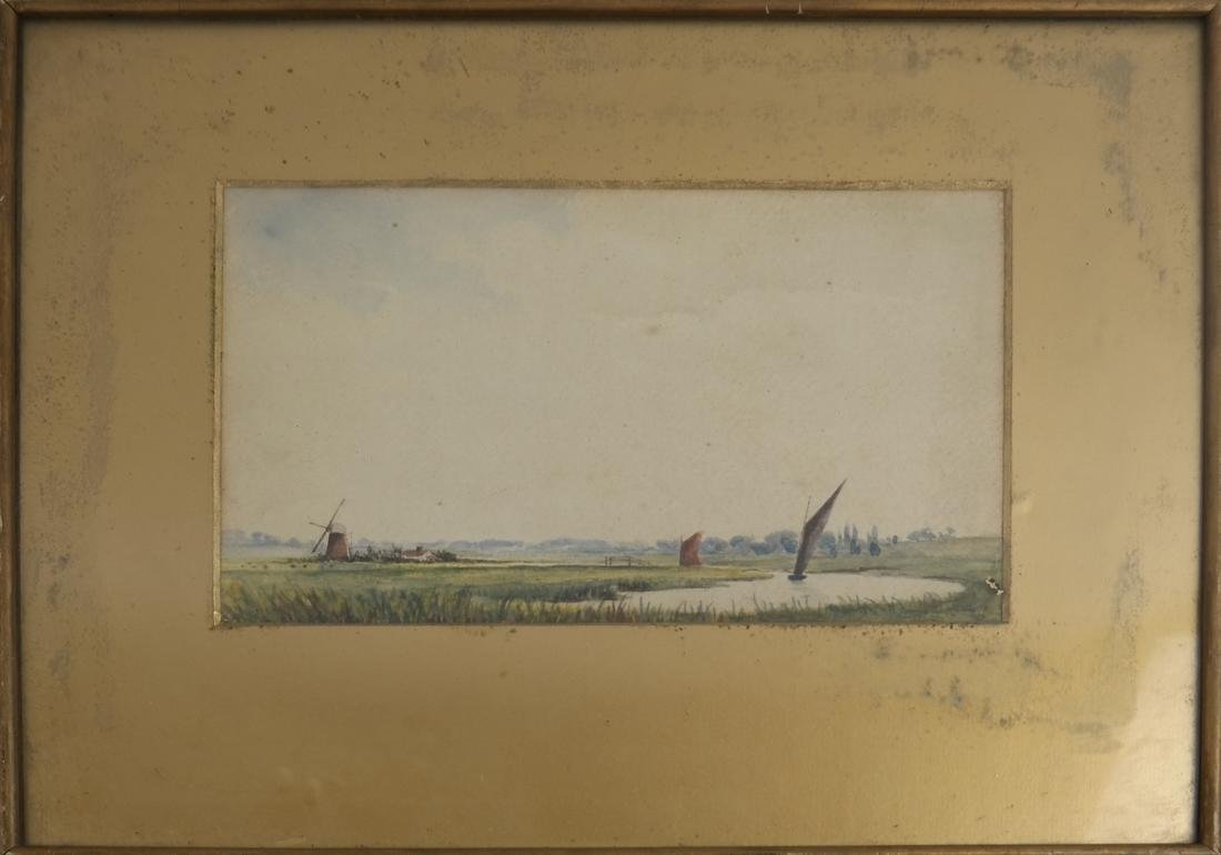 Landscape with Windmills and Sailboats, Watercolor - 2