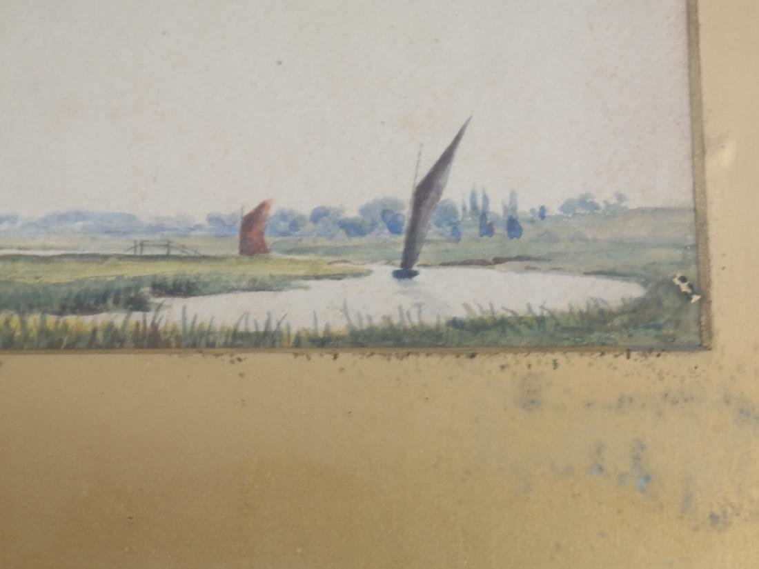 Landscape with Windmills and Sailboats, Watercolor - 3